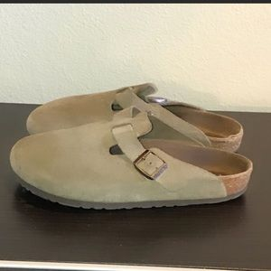 Auth Birkenstock suede leather mules sandals 9